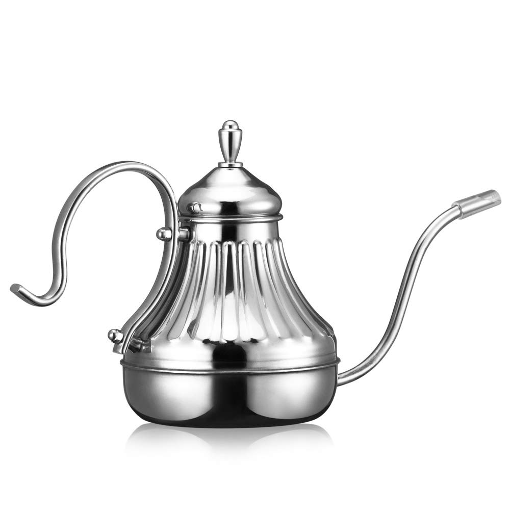 XXJF Stainless Steel Coffee Pot 0.6CM Fine Mouth Pot Long Handle Pot Lid 450ml Large Capacity Pouring Pot Suitable for Induction Cooker Heating Suitable for Home Cafes Etc. by XXJF