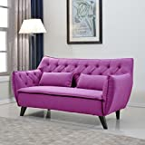 Mid Century Modern Tufted Linen Fabric Loveseat in Colors Dark Grey, Light Grey, and Purple (Purple)