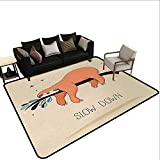 Contemporary Synthetic Rug Animal,Sleeping Big Bear and Sloth Hanging on a Bench Cozy Lazy Wild Creature Image Print,Multicolor,for Living Room Bedrooms Kids Nursery Home Decor 5'x 8'