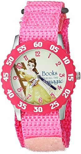 Disney Girl's 'Belle' Quartz Stainless Steel and Nylon Casual Watch, Color:Pink (Model: WDS000060)