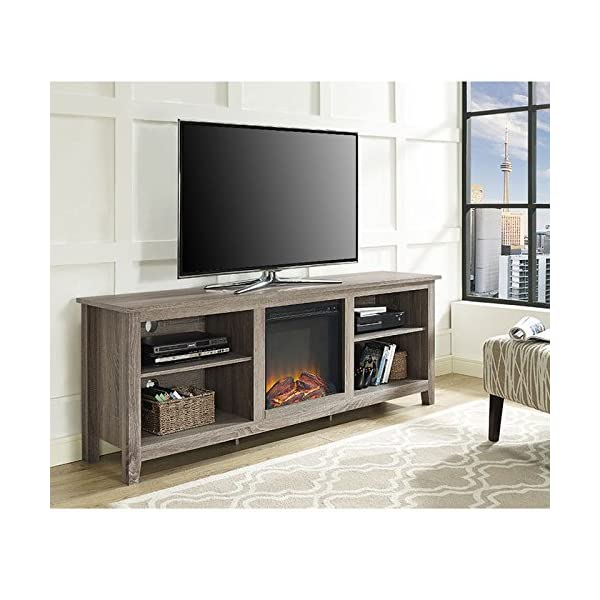 We Furniture 70 Wood Fireplace Tv Stand Console Driftwood