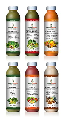 Healthy Choice Juices - 3 Day Detox - Breakfast, After Breakfast Plus, Lunch, After Lunch, Dinner, After Dinner, Cold Pressed Fruit and Vegetables Juice - 18 Bottles by Healthy Choice Juices