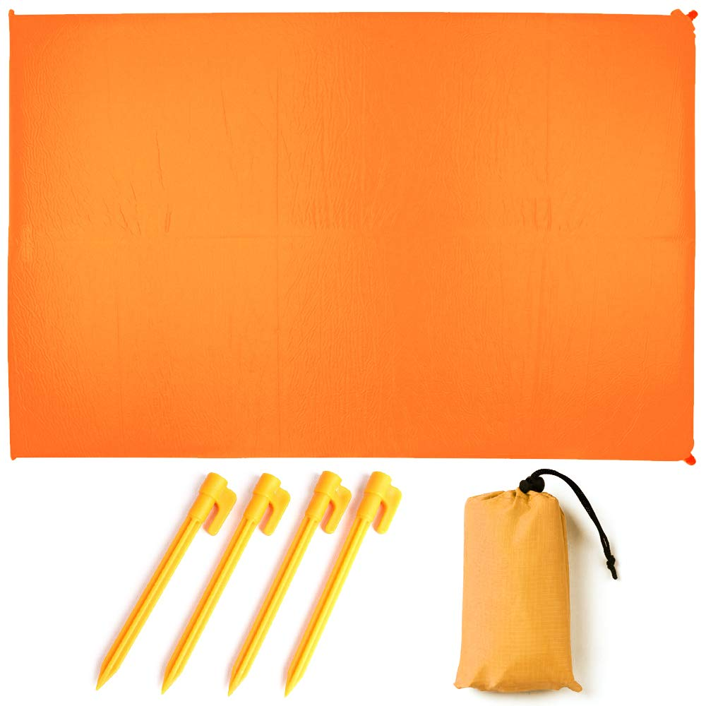 YASSUN Outdoor Waterproof Beach Blanket 55″x60″,Light Weight Sand Proof Picnic Mat for Travel, Hiking, Camping, Festival, Quick Drying Includes Pockets and 4 Portable Tent Pegs (Orange)
