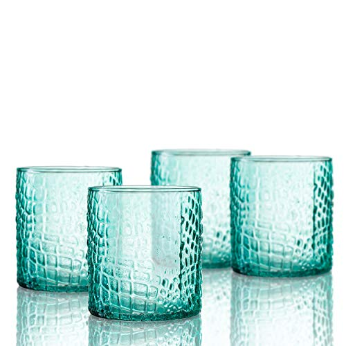 (Elle Decor 229805-4OFGR Bistro Croc 4 Pc Set Old Fashion, Green-Glass Elegant Barware and Drinkware, Dishwasher Safe, 12.8 Oz, )