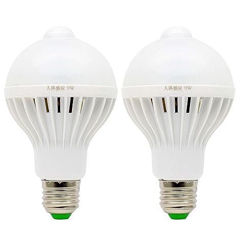 2X E27 Bombillas Detección de Movimiento 9W PIR LED Sensor de Movimiento Iluminación de Seguridad Blanco