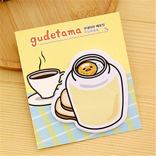 Sticker 3Pcs Logo Cute Kawaii Gudetama Memo Pad Egg Stationery Store Post it Sticky Note Paper Notepad Diary Item Papeleria Kit (Egg 1) (Stationery Memo Pad)