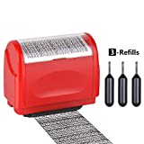 Identity Protection Roller Stamp,Innissunny Wide Identity Theft Protection Roller Stamp - RED(3 Refill Ink Included)