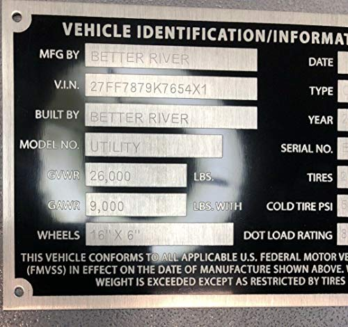 - Decal USA 1 Car Hauler Semi Trailer Special ID Tag Plate Serial Model VIN# Custom Engraved