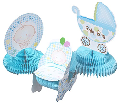 Baby Shower Decorations - 6 Pieces Boy Theme Baby Shower Table Centerpieces Party Supplies, Blue (Baby Shower Decoration Ideas For A Boy)