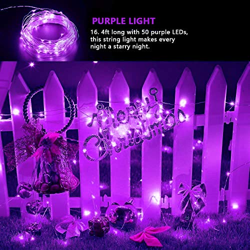 BOLWEO 2 Pack Solar Fairy Lights Outdoor Waterproof,16.4Ft 50LEDS Solar Rope Lights, IP65 String Lighting for Christmas Tree Halloween Home Garden Wedding Party Fairy Decoration(Purple)