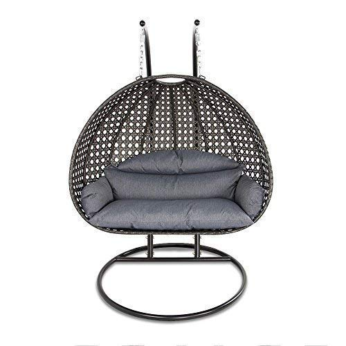 Island Gale Luxury 2 Person Wicker Swing Chair ((2 Person) X-Large, Charcoal Rattan/Charcoal Cuishion)