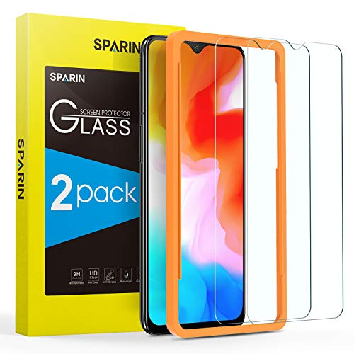 SPARIN [2 Pack] Screen Protector for OnePlus 6T - [Alignment Frame Easy Installation] [Tempered Glass] [Case Friendly] [Double Defence]