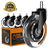 Caster Chair Wheels Office Replacement Set Of 5 | Fits Most Chairs | Rollerblade Style 3 Inch by Clever Casters | No Floor Mat Heavy Duty Protection for Hardwood Tile Vinyl