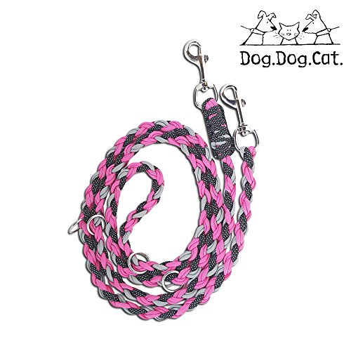 Paracord double ended Versatile hands-free dog walking or training leash (6 foot adjustable, Pink/Grey Reflective) by Dog and Cat