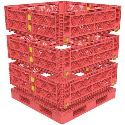 トラスコ マルチステージコンテナ メッシュ 3段 1100×1100 赤 ※取寄せ品 TMSC-M1111-R B01CH9Y9CG