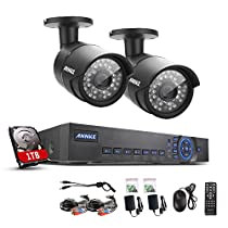 ANNKE 4CH 720P CCTV DVR + (2) 720P HD Cameras Vandalproof Security Camera System with Internet Access, Scan QR Code, Quick Remote Viewing 1TB HDD Included