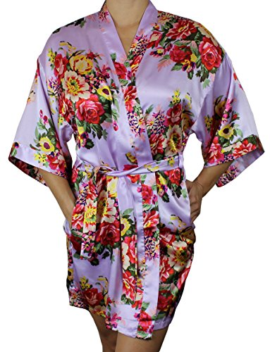 Women's Satin Floral Kimono Short Bridesmaid Robe W/Pockets - Lavender M/L