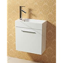 """vs ALEXIUS - WHITE 20"""" x 10"""" Inch Small Bathroom Vanity Sink - Floating Wall Hung Mount"""