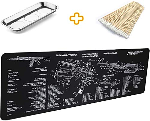 YCWEI YCWEI Gun Cleaning Mat Pad (36\'\' X 12\'\')-with Magnetic Screws Tools Parts and Cotton swabs for Handgun Rifle Cleaning-Non Slip and Solvent Resistant