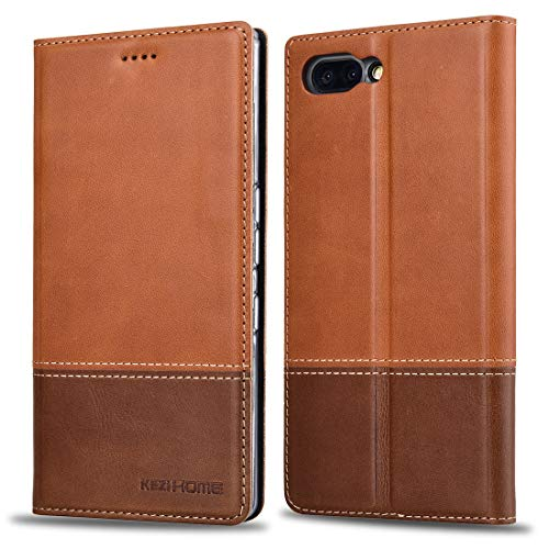 BlackBerry KEY2 Case, KEZiHOME Color Matching Genuine Leather Wallet Case with Kickstand and Multiple Card Slots Protective Cover for BlackBerry KEY2 (Khaki)