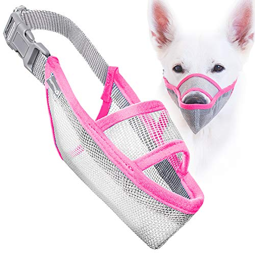 Gentle Mesh Muzzle Guard Dogs - Prevents Biting Unwanted Chewing Safely Secure Comfort Fit - Soft Neoprene Padding - No More Chafing - Included Training Guide Helps Build Bonds Pet (Pink, 3)