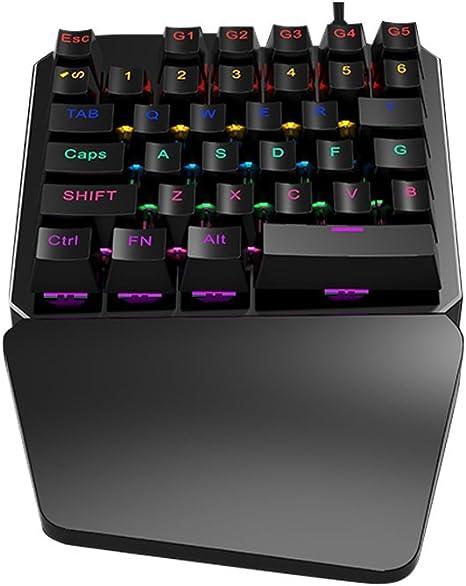 One-Handed Mechanical Gaming Keyboard, RGB retroiluminado ...