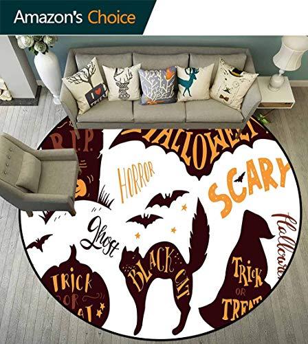Vintage Halloween Round Rug Girls Bedroom,Halloween Symbols Trick or Treat Bat Tombstone Ghost Candy Scary Easy Clean,Dark Brown Orange,D-63 -