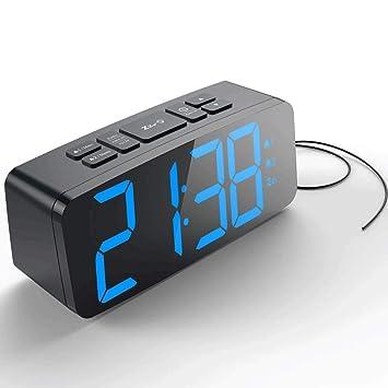 KIOio Reloj Despertador Digital, Reloj Despertador Doble de Radio FM, Pantalla LED con Formato de 12 Horas / 24 Horas, Puerto USB y batería de Respaldo: ...