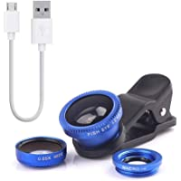 Rhobos 3 in 1 Clip On Camera Lens Kit of Wide Angle, Fish Eye, Macro and USB to Micro USB Male Charging 10Cm Cable for Oppo F3 & Nokia 6.1