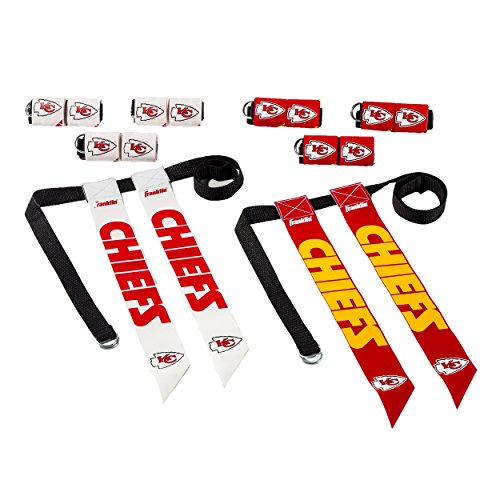 Official Nfl Flag - Franklin Sports Kansas City Chiefs Flag Football Set - 8 Flag Belts - 8 Player - Self Stick Tear-Away Flags - NFL Official Licensed Product