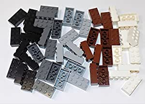 LEGO Parts and Pieces: Assorted 2x4 Bricks (Black, Dark Gray, Light Gray, Reddish Brown, White) - 50 Pieces