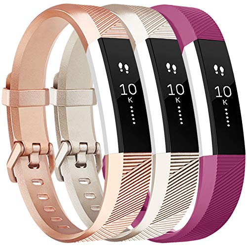 Vancle Bands Replacement for Fitbit Alta HR and Fitbit Alta (3 Pack), Newest Sport Replacement Wristbands with Secure Metal Buckle for Fitbit Alta HR/Fitbit Alta (Champagne Rose-Gold Fuchsia, Small)