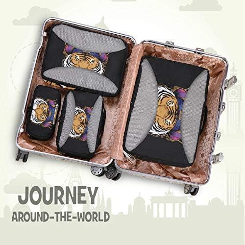 タイガーヘッドフォンミュージックアート荷物パッキングキューブオーガナイザートイレタリーランドリーストレージバッグポーチパックキューブ4さまざまなサイズセットトラベルキッズレディース