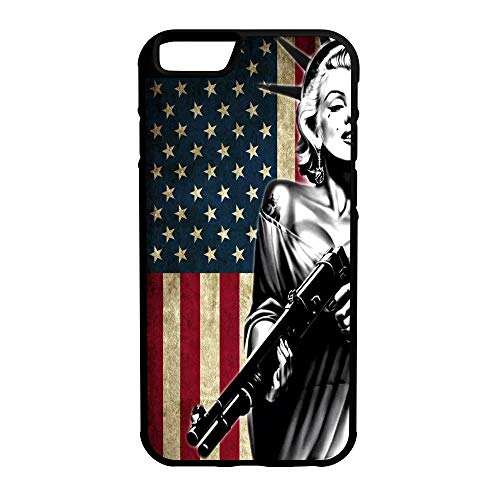 407Case Compatible with iPhone 6 Plus+ Marilyn Monroe Statue of Liberty US Flag Shotgun Hybrid Protective Rubber TPU Phone Case (iPhone 6 - Statue Monroe