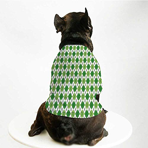 YOLIYANA Irish Fashion Pet Suit,Classical Argyle Diamond Line Pattern with Crosswise Lines Old Fashioned Decorative for Cats and Dogs,S