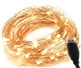 MSC - 23ft / 7m - 70 Led's USB Powered LED Warm White Coloured String Fairy Lights On Copper Cable, Ideal for Christmas, Xmas, Party,Wedding,Decoration Warm-USB-7m