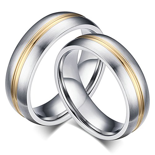Bishilin Couples Rings Customized 0 Men Silver Size 8 & Size 10 ()