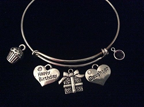 Happy Birthday Daughter Silver Expandable Charm Bracelet Adjustable Wire Bangle Cupcake Present Birthstone Gift