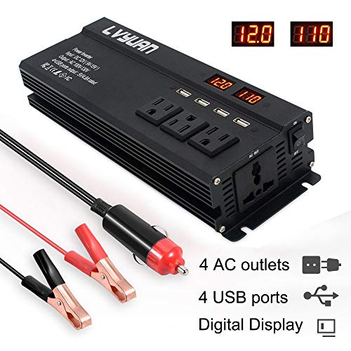 LVYUAN Power Inverter 1000W 2000W 4 AC Outlets and 4 USB Charging Ports DC to AC Inverter 12V to 110V Car Converter DC 12V Inverter with Digital LCD Display