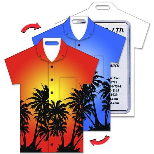 ct Luggage Tag T-Shirt Shape Hawaiian Palm Trees (Hawaiian Shirt Luggage Tag)