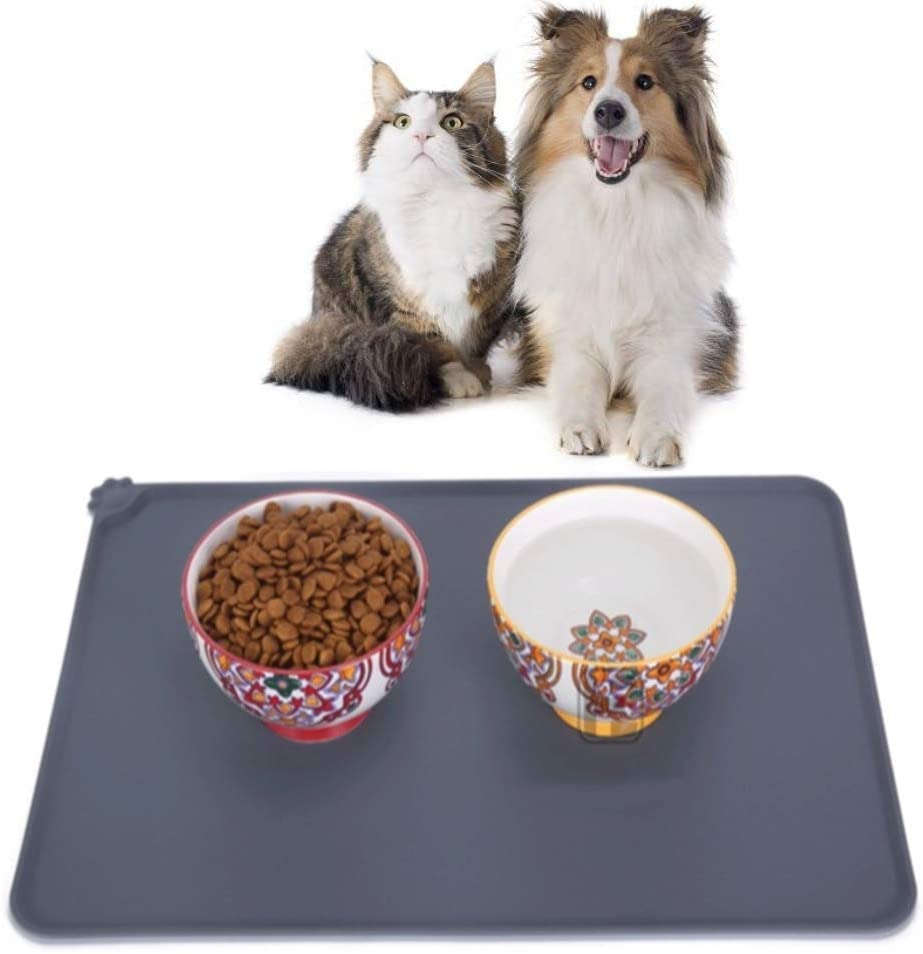 DONCIC Pet Dog Puppy Cat Feeding Mat Pad Waterproof Cute Paw Silicone Bed Dish Bowl Food Water Feed Placemat Wipe Clean Pet Supplies Mat Pet.