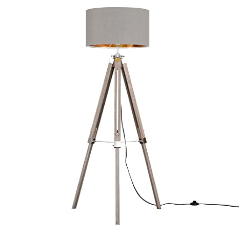 ecf4e33f26ce Modern Distressed Wood and Silver Chrome Tripod Floor Lamp with a Grey/Gold  Cylinder Light Shade: Amazon.co.uk: Lighting