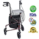 Health Line Lite Folding 3 Wheel Aluminum Rollator Walker Lightweight with Bag and Basket, Flame Red