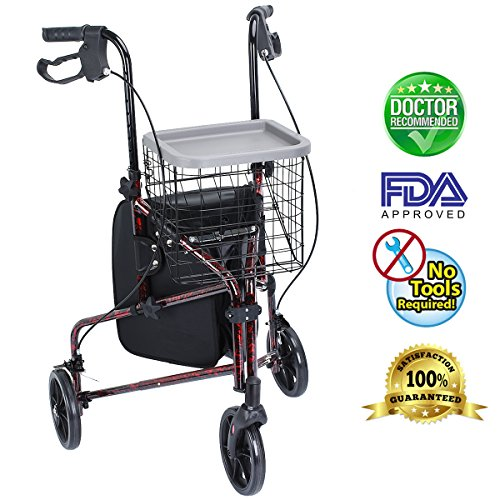 Healthline Lite Folding 3 Wheel Aluminum Rollator Walker Lightweight with Bag and Basket, Flame Red by HEALTH LINE MASSAGE PRODUCTS