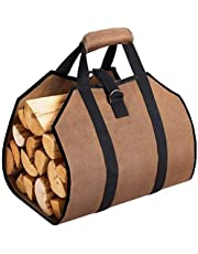 MICOKAY Log Carrier for Firewood, Durable Waxed Canvas Tote Bag with Handles,Waterproof Fireplace Stove Accessories for Outdoor Camping Beach Campfire-39 x18 Inch(Brown)