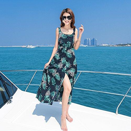 Vestidos Vestido Verano Beach green Sin Blackish RONG Falda Respaldo De XIU Holiday RUISqZC