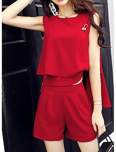 Xuanku Y Sencillo Mujer Sin Rojo Estilo De Casual Para Mangas Verano Pantalones r80gqr