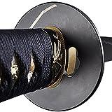 katana sword parts - Handmade Sword - Samurai Katana Sword, Functional, Hand Forged, 1045 Carbon Steel, Heated Tempered, Full Tang, Sharp, Orchid Tsuba, Blue Cotton Ito Handle, Deeply Blue Wooden Scabbard