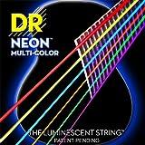 DR Strings NMCA-12 Multi-Color Strings Lite Coated Phosphor Bronze Acoustic Guitar Strings, Light