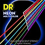 DR Strings NMCA-12 Multi-Color Strings Lite Coated Phosphor Bronze Acoustic Guitar Strings, Light
